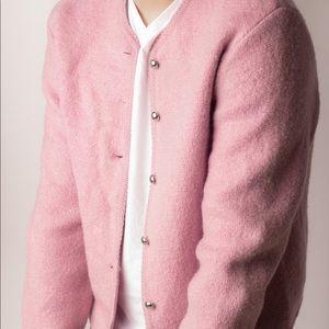 """VTG """"Tally-Ho"""" 100% Wool Lilac Cardigan"""